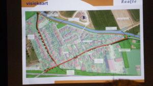 De ruwe schets, met maatregelen voor de Kolkweg, Lange Slag en een fietsroute over het huidige wandelpad.