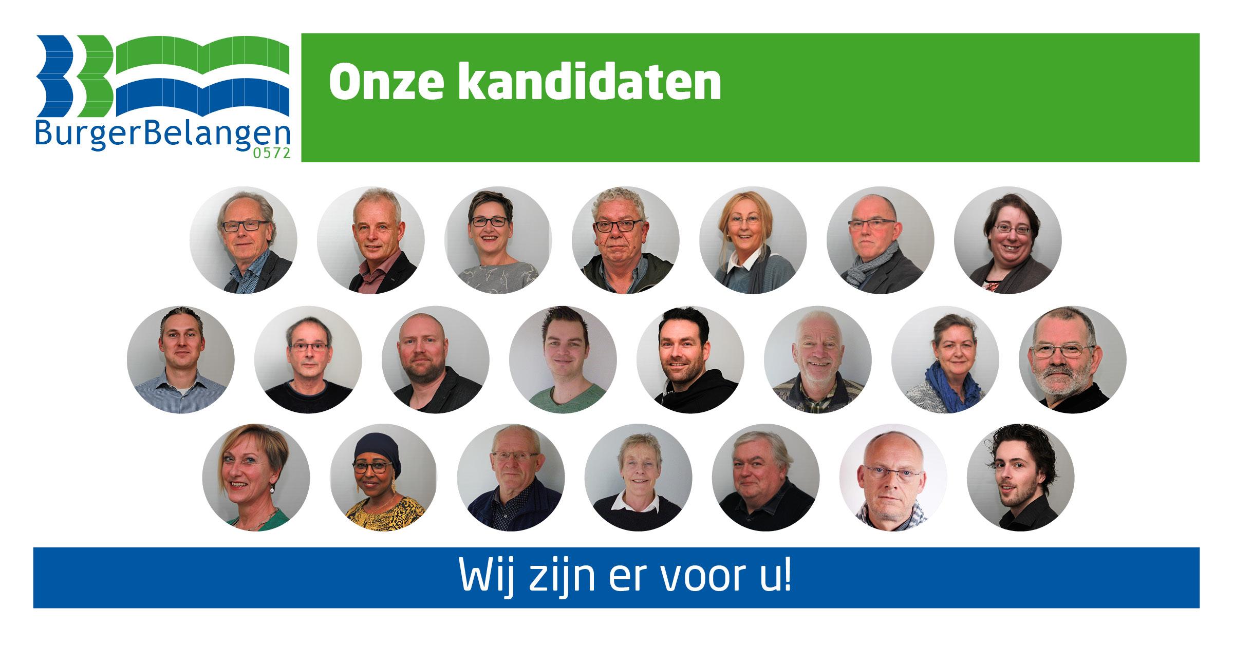22 kandidaten met cirkels